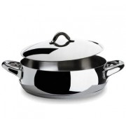 Alessi Mami Low Casserole with Lid -24cm Polished Finish